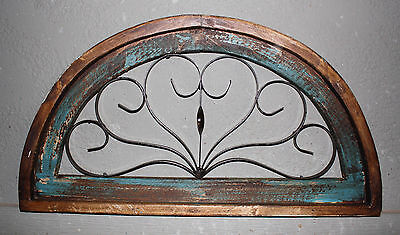 Wooden Antique Style Church WINDOW Wrought Iron Primitive Wood Rustic Gothic