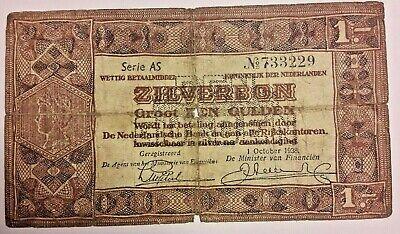 1 GULDEN ZILVERBON NETHERLANDS 1938 P-61 SERIE AS