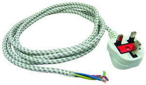 UNIVERSAL 2.5 METRE IRON POWER LEAD CABLE FLEX CORD & UK 3 PIN PLUG