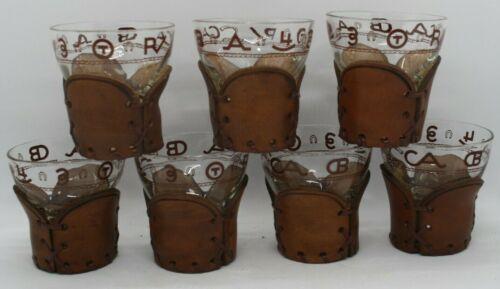 "7 Vintage Bamco Western BRANDS 4 oz  3"" Ball Bottom Glasses Leather Holders"