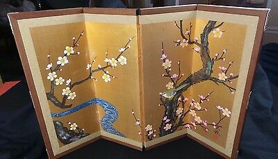 ASIAN 4 PANEL CHERRY BLOSSOM HAND PAINTED FLORAL TABLE SILK SCREEN SIGNED