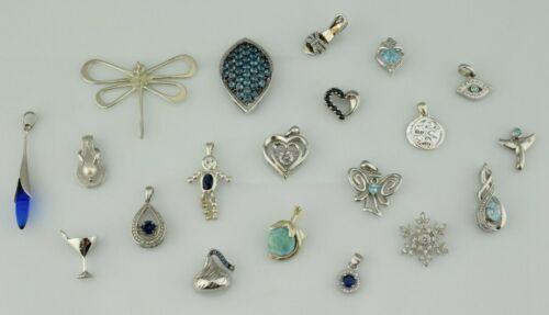 Lot of 20 - Sterling Silver Pendants Multi Gemstone Various Sizes