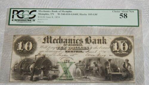 1854 Mechanics Bank $10 Ten Dollars Memphis TN Note PCGS CHOICE About New 58 AU