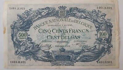 Belgium 500 Francs or 100 Belgas 1943 Banknote Belgïe Belgique