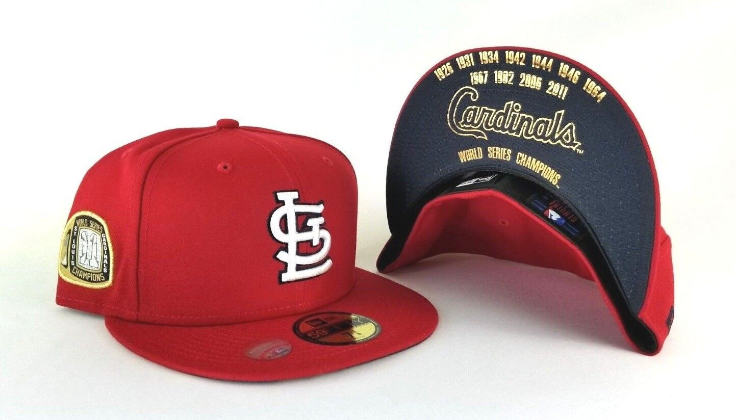 innovative design 1b5d1 93f5e New Era St. Louis Cardinals 11 Champions Ring Side patch Red 5950 Fitted Hat