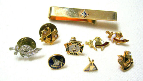 Vintage Lot MASONIC Freemasons Shriner TACK PINS & TIE BAR 10 Piece