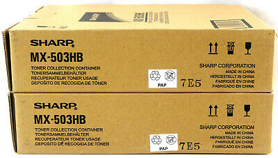 Qty 2 - Sharp Waste Toner Container Mx-503hb Oem Genuine Brand New Free Shipping