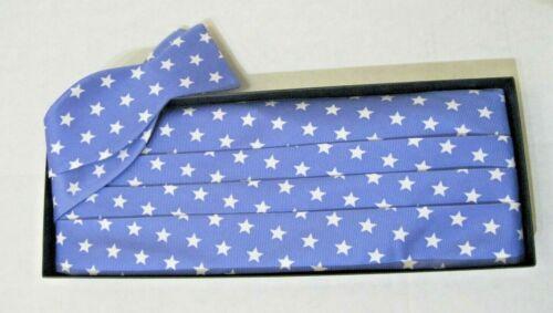 SOUTHERN PROPER Blue White Stars Mens Bow Tie & Cummerbund Set NEW IN GIFT BOX