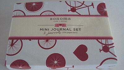 Sonoma Life & Style Mini Journal Set 3 Journals 100 sheet each White Red Box Style Journal Set