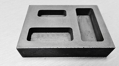 Graphite Ingot Mold 3 Pockets 1/4 1/2 & 1oz Small Bars for Melting Scrap Metal