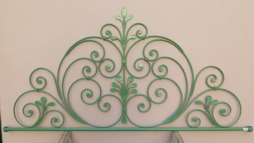 Headboard Bed header For Double Bed Wrought Iron A Tail peacock Vintage 29