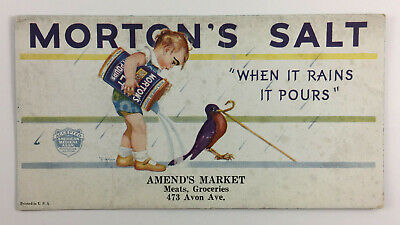 Vintage Mortons Salt Ink Blotter Amends Market Newark New Jersey