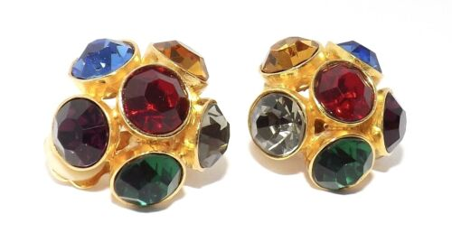Vintage Clip On Statement Earrings Rhinestone Colorful Jewel Gold tone