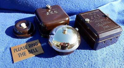VINTAGE GEC ELECTRIC BAKELITE  BRASS BELL TRANSFORMER DOOR BUTLER SHOP BELL PUSH