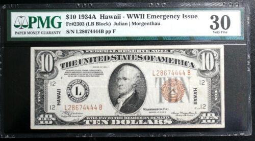 FR 2303 1934-A $10 HAWAII WWII EMERGENCY NOTE LB BLOCK PMG 30 VERY FINE NICE
