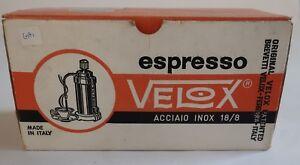 New Vintage Espresso Maker Velox Inox Stainless Steel Original Box 110V to 220V
