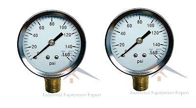 2 Air Compressor Pressurehydraulic Gauge 2 Face Side Mount 14 Npt 0-160 Psi