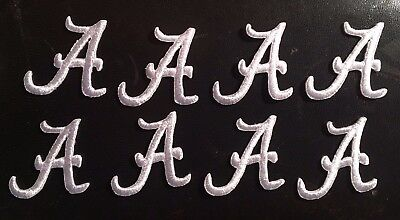 Crimson Embroidery - Alabama patch Crimson Tide white A logo embroidery iron on patch lot of 8 pieces