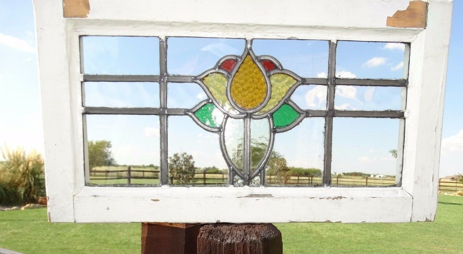 15368 Antique Victorian Stained Glass Window 1880s Architectural Church Salvage