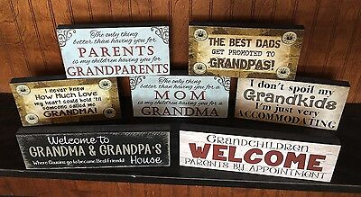 Handmade Primitive Country Block Wood sign GRANDPARENT GIFT Grandma -