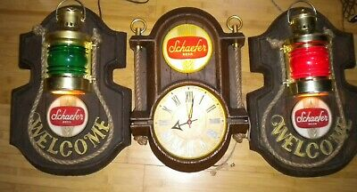 """Schaefer Beer Lighted Nautical Signs and Clock each about 18: x 13"""" x 3"""" Vintage"""