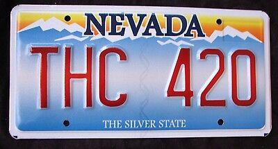 "NV Vanity License Plate ""THC 420 "" POT MARIJUANA CANNABIS DOPE WEED HEMP STONED"