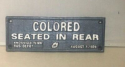 "Cast Iron Black Americana ""COLORED SEATED IN REAR"" Plaque Wall Sign"