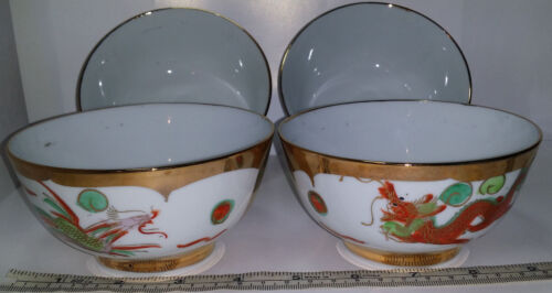 4 Vintage Chinese Restaurant Dragon Phoenix Footed Rice Bowls. Heavy Gold Trim.