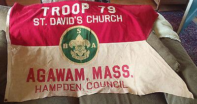 Vintage Banner Official BSA Boy Scout of Ameriac Agawan Massachusetts Troop 79
