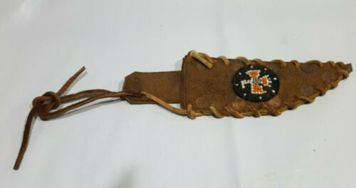 Vtg. Handmade Beaded Native American  KNIFE SHEATH  w/copper rivets and Rawhide