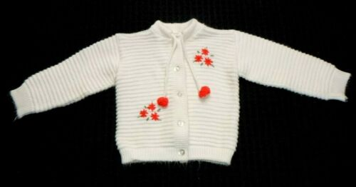 Vtg Little Girls Acrylic Cardigan Sweater W/ Red Floral Decoration & Poms 2T