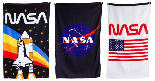 """NASA Flag Fabric Wall Banner Logo Shuttle Rocket 30"""" by 50"""" Officially Licensed"""