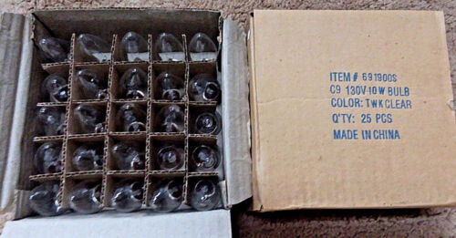 2-boxes of 25 Nickle Base Bulb Clear Twinkle C9 130V, 10W, 691900S (50 bulbs)