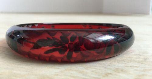 Rare Vtg Art Deco UPPER ARM Cherry Amber Reverse Carved Bakelite Bangle Tested