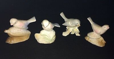 "PORCELAIN FIGURINE sparrow bird blue pink Gray Lot of Four Birds 3"" Tall"