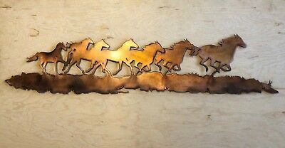 Wild Horse Mustang (Wild Horse Mustang Scene Wall Metal Art Hanging with Rustic Copper Finish)