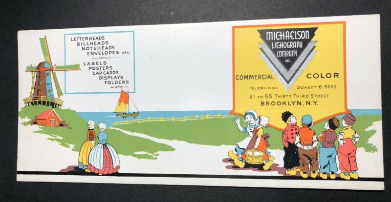 Michaelson Litho Brooklyn New York Dutch Art Deco Advertising Blotter Mini Sign