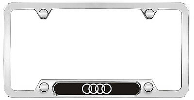 - Audi Genuine Accessory-Audi Rings License Plate Frame(Polished Stainless Steel)