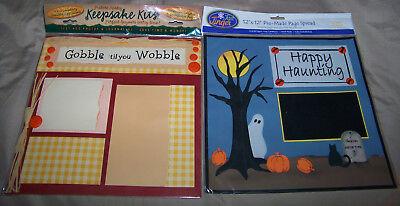 2 SCRAPBOOK Keepsake KITS 12x12 HALLOWEEN & THANKSGIVING Embellished & Assembled - Halloween Assembly