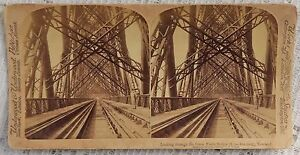 VINTAGE-STEREOVIEW-PHOTOGRAPH-LOOKING-THROUGH-THE-GREAT-FORTH-BRIDGE-SCOTLAND