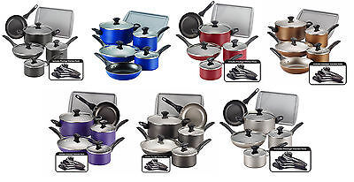 Farberware Dishwasher Safe Nonstick Aluminum 15-Piece Cookware Sets, 7 Colors