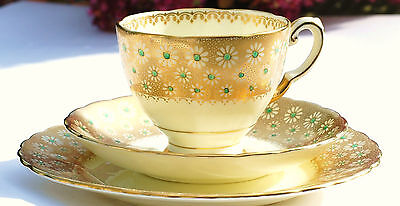 Tuscan Gold Floral Tea cup Saucer Trio Art Deco English Vintage China Tea Party