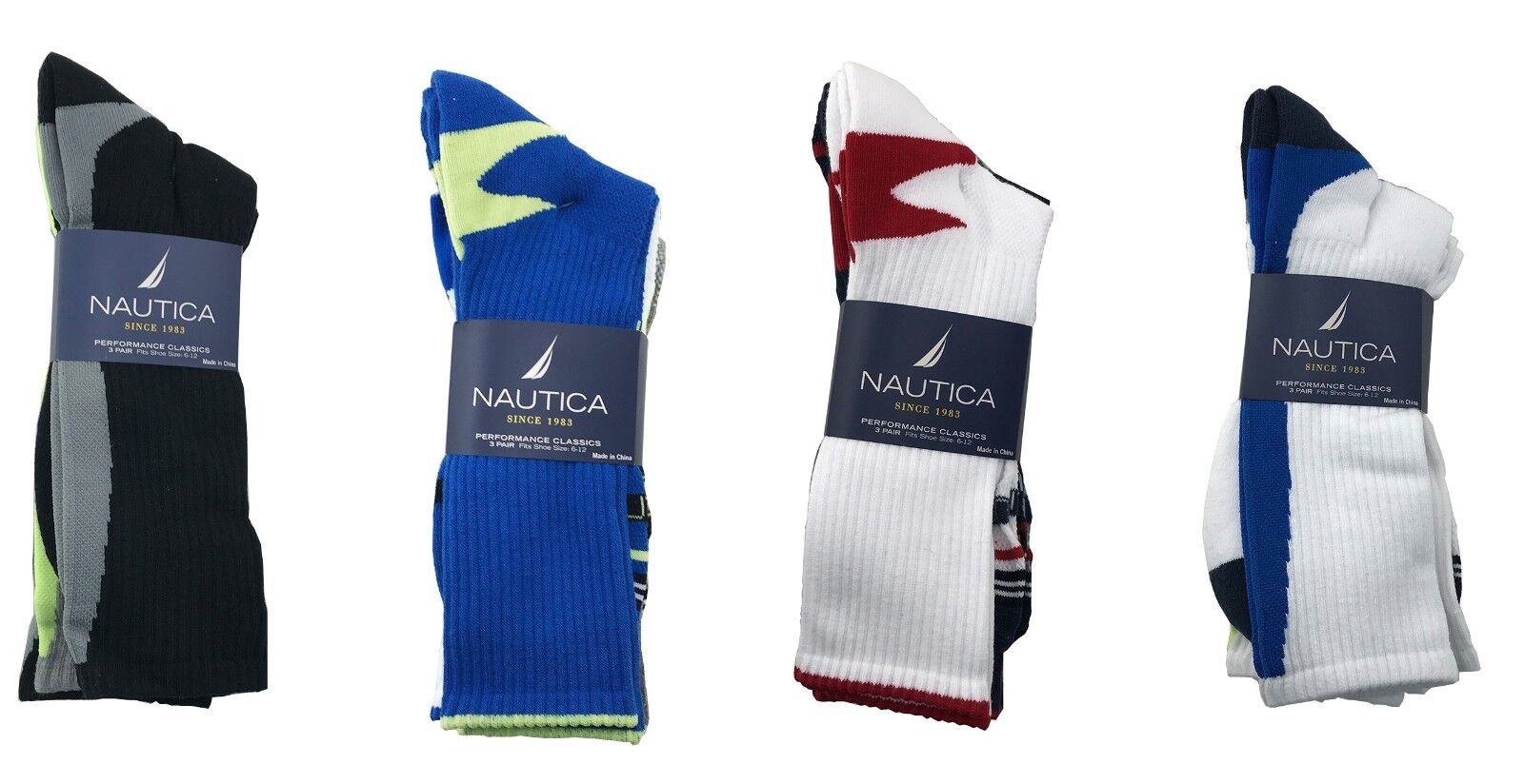 12 Pairs Nautica Mens Sports Socks 10-13 Shoe Size 6-12