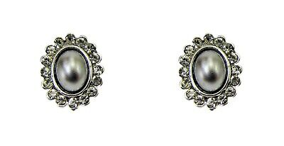 Timeless and Elegant Grey Pearl and Crystal Oval Earrings - NEW
