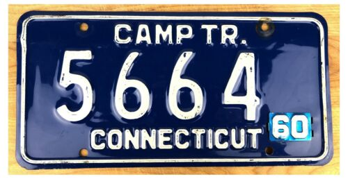Connecticut 1960 CAMP (PRIVATE) TRAILER License Plate 5664!