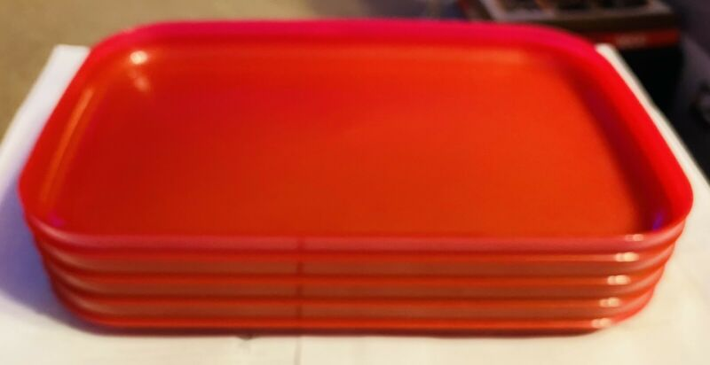 Tupperware New Rectangular Stackable Lunch Picnic Plates Red Set of 4