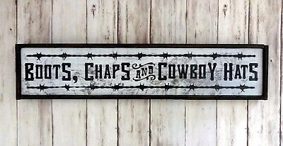 Boots, Chaps And Cowboy Hats - Handmade Framed Rustic Wood Sign Western - Cowboy Hats And Boots