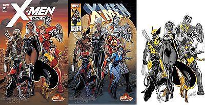 X-MEN GOLD #1 J. SCOTT CAMPBELL STORE EXCLUSIVE 3-COMIC SET VARIANT COVERS A B C