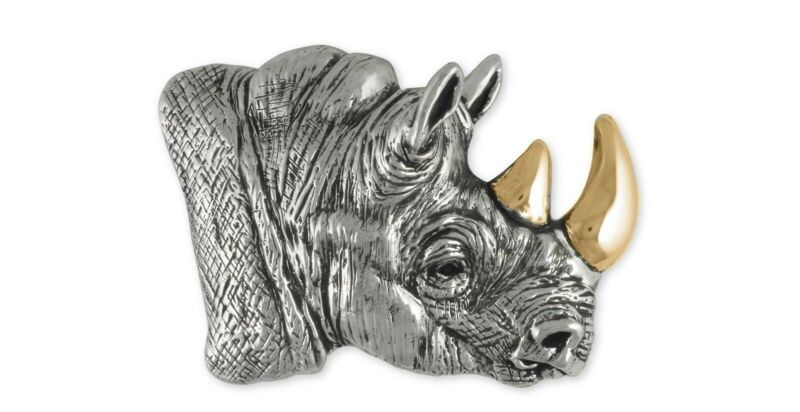 Rhinoceros Belt Buckle Jewelry Sterling Silver Rhinoceros Wildlife Belt Buckle R