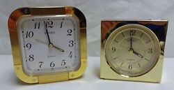 Pair of Vintage Seiko Quartz Gold Alarm Clocks